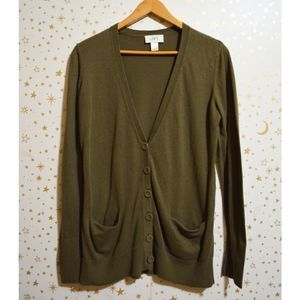 Loft Olive Green Button Cardigan Sweater Small